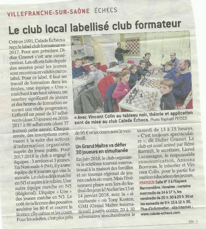 Le club local labellise club formateur